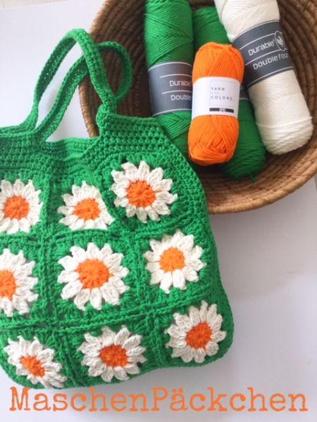 MaschenPäckchen - Blumentasche by Bea (Bright Green)