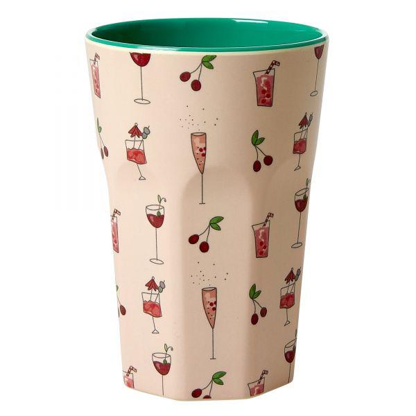 Melamin Latte-Becher Pink Cocktail - print von Rice