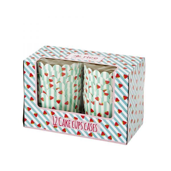 12 CupCake-Cases Erdbeere-Print in hellblau von Rice