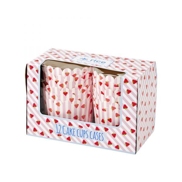 12 CupCake-Cases Erdbeere-Print in rosa von Rice