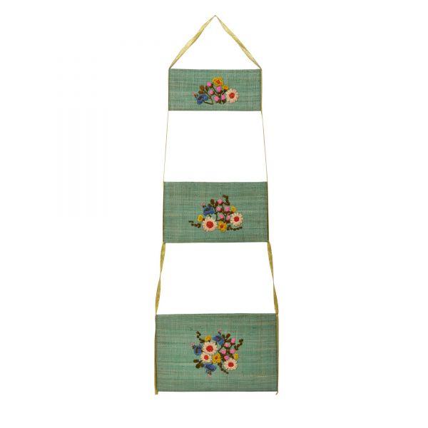 Hängeaufbewahrung 3er Set RAFFIA in grün mit Blumenstickerei von Rice
