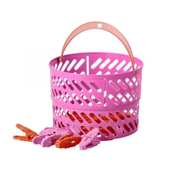 Wäscheklammer Korb mit 20 Wäscheklammern in Pink/Orange von Rice