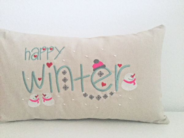 "Kissen - ""Happy Winter"" 25x45 cm"