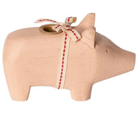 Schwein von Maileg - Mit Kerzenhalter aus Holz in rosa (small)
