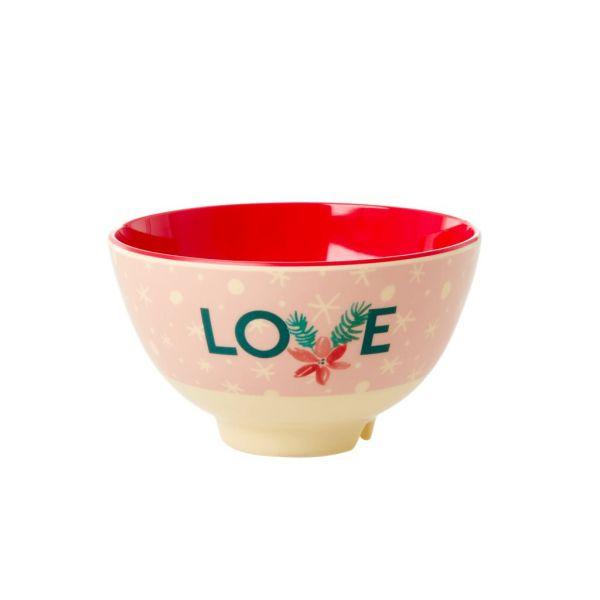 Mini Melamin Bouwl LOVE- Xmas-print