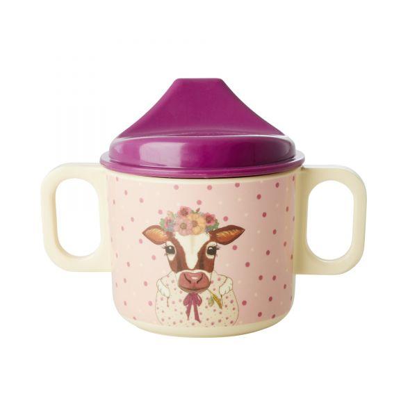 Melamin Kids Baby Cup Farm Animals Print Pink