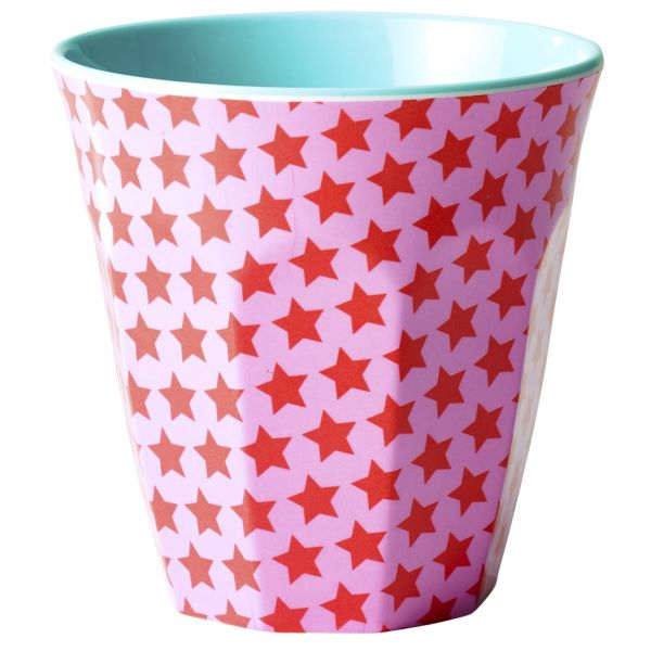 Melamin Becher two tone star print pink von Rice