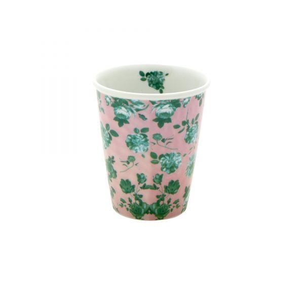 Porcelan Becher pink green rose von Rice